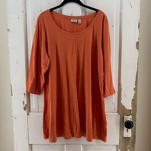 Logo Orange Tunic Top 3/4 Sleeves 1X